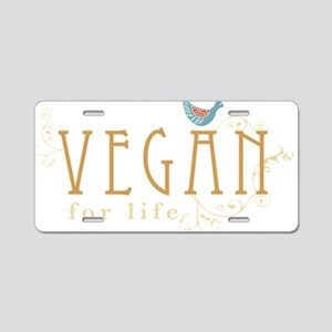 vegan-border2-blk Aluminum License Plate